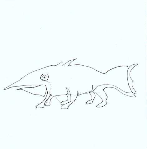 fischmitfuss_Zeichnung auf Papier_20x20cm_2009