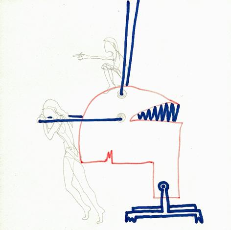 maedchenundmaschine1_Zeichnung auf Papier_20x20cm_2009
