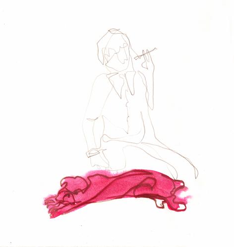 mit zigarette_Zeichnung auf Papier_30x30cm_2014