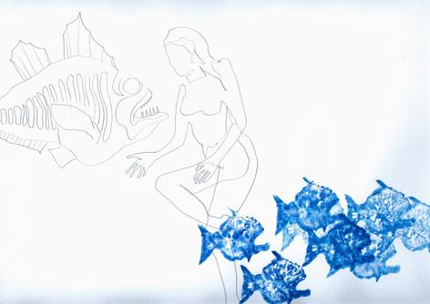 Fische 13_mischtechnik auf Papier_30x30cm_2008