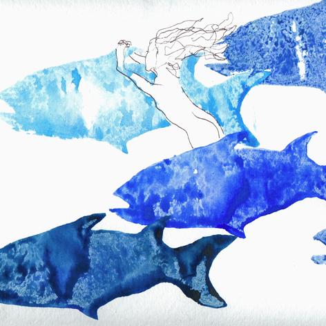 Fische 5_mischtechnik auf Papier_30x30cm_2008