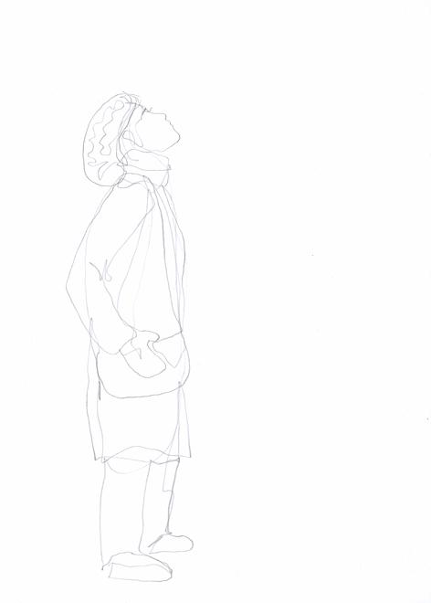 die erste feldlerche_Zeichnung auf Papier_20 x 30 cm_2015