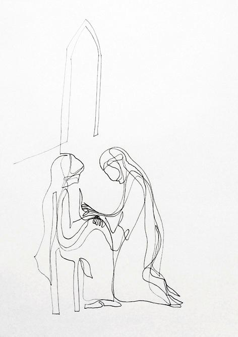 die nonne_Zeichnung auf Papier, 29,7 x 42 cm_2015