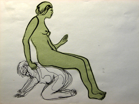 grüne frau auf mann_collage_21,0 x 29,7cm_2006