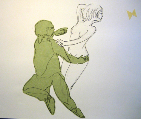 grüner mann frau schmetterling_collage_21,0 x 29,7cm_2005