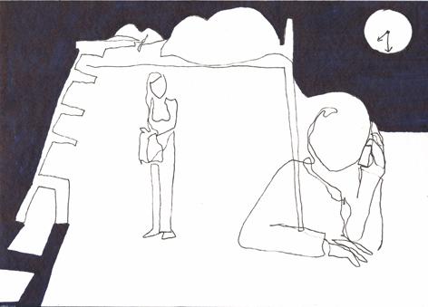 halb acht_Zeichnung auf Papier_30x20cm_2014