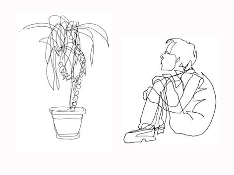 palme und mensch_zeichnung auf papier_29,7 x 42,0 cm_2004