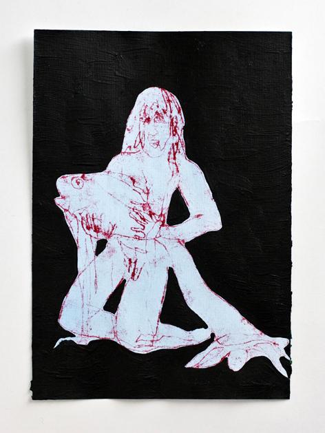 rote sitzende_Mischtechnik auf Papier_20x30cm_2009