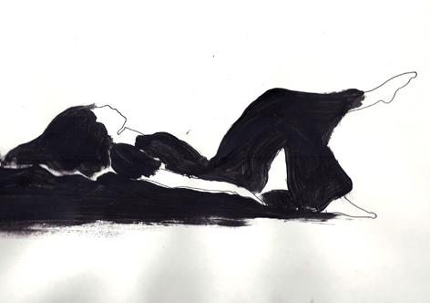 schwarzfrau_liegend_Mischtechnik auf Papier_20x30cm_2011