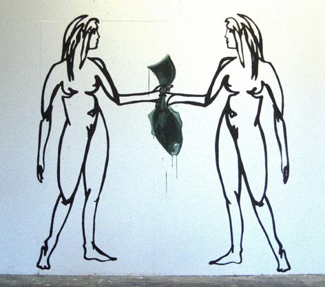 wandzeichnungzweifrauenAcryl auf Wand_200x200cm_2009
